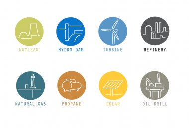 Energy Source Icons (thin lines on colour)