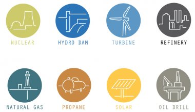Modern thin icons - sources of energy