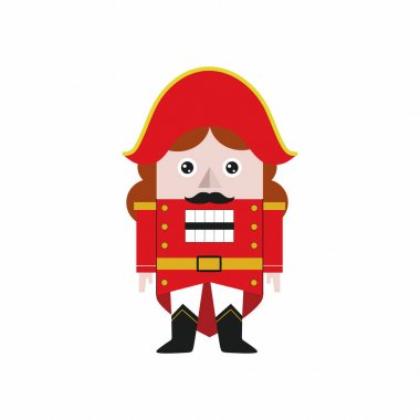 Nutcracker isolated on a white background. The hero of a fairy tale for the new year and Christmas. Christmas tree toy vector icon