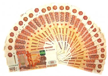 Fan of banknotes, rubles