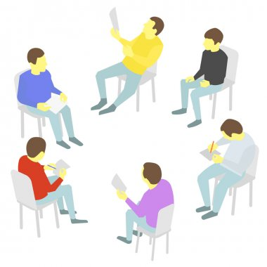 Talks. Group of business. Five people team meeting conference