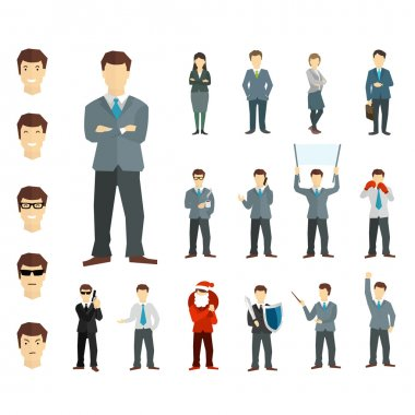 Many working people in various poses. Vector.