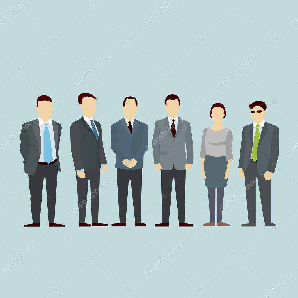 Business men team Concept of Group People. Vector flat.