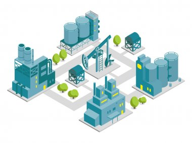 Set of isometric factory illustration oil production