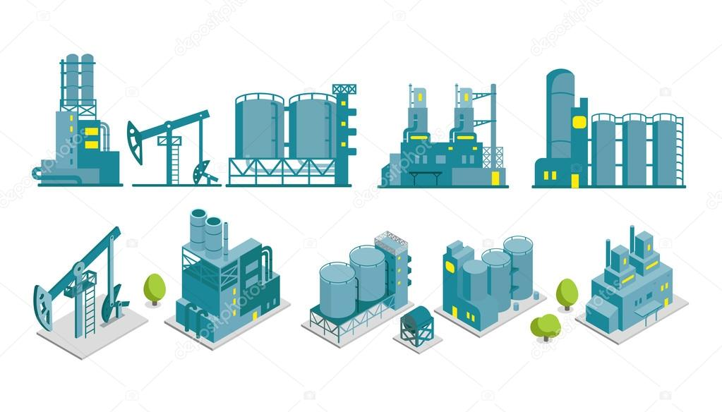 Set of isometric end 2D factory illustration oil ...