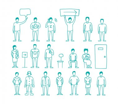 People vector set drawing hand standing and waiting in line.