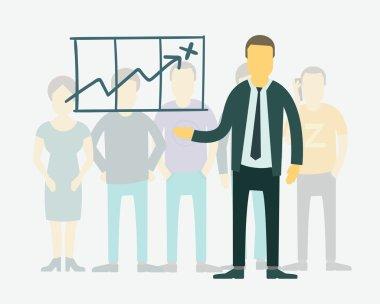 Vector flat businessman presentation of achievements