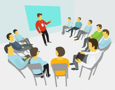 Group of business people having a meeting around conference collaboration and discussion process conference presentation clip art vector