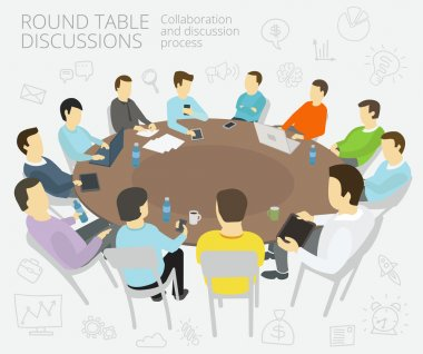 Round-table talks. Group of business people team having a meeting, conference