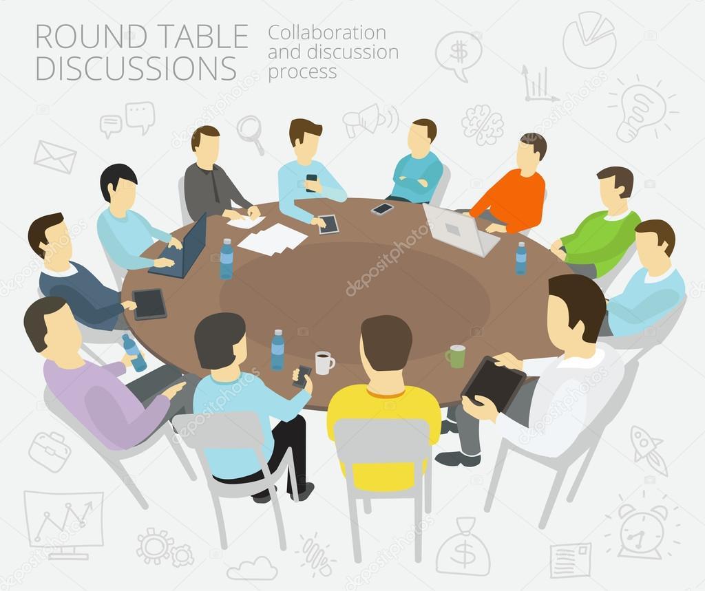 Ronde Tafel Gesprekken.Rondetafelgesprekken Groep Van Zakelijke Mensen Team Met