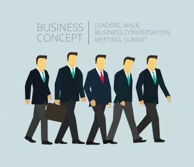 Business group team walking Five people go to...