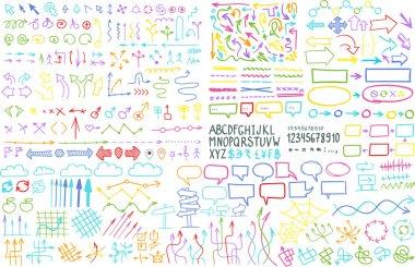 Hand draw arrow set elements