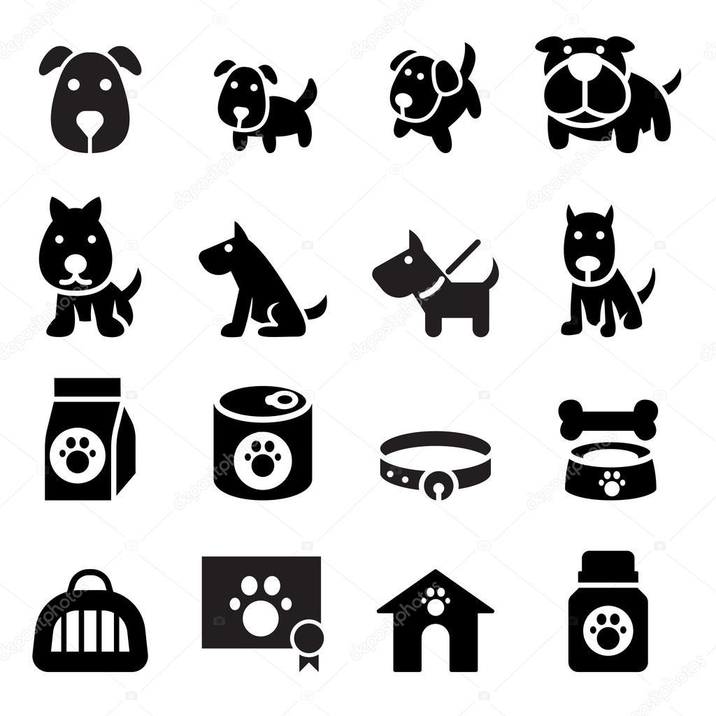 Dog icon illustration set