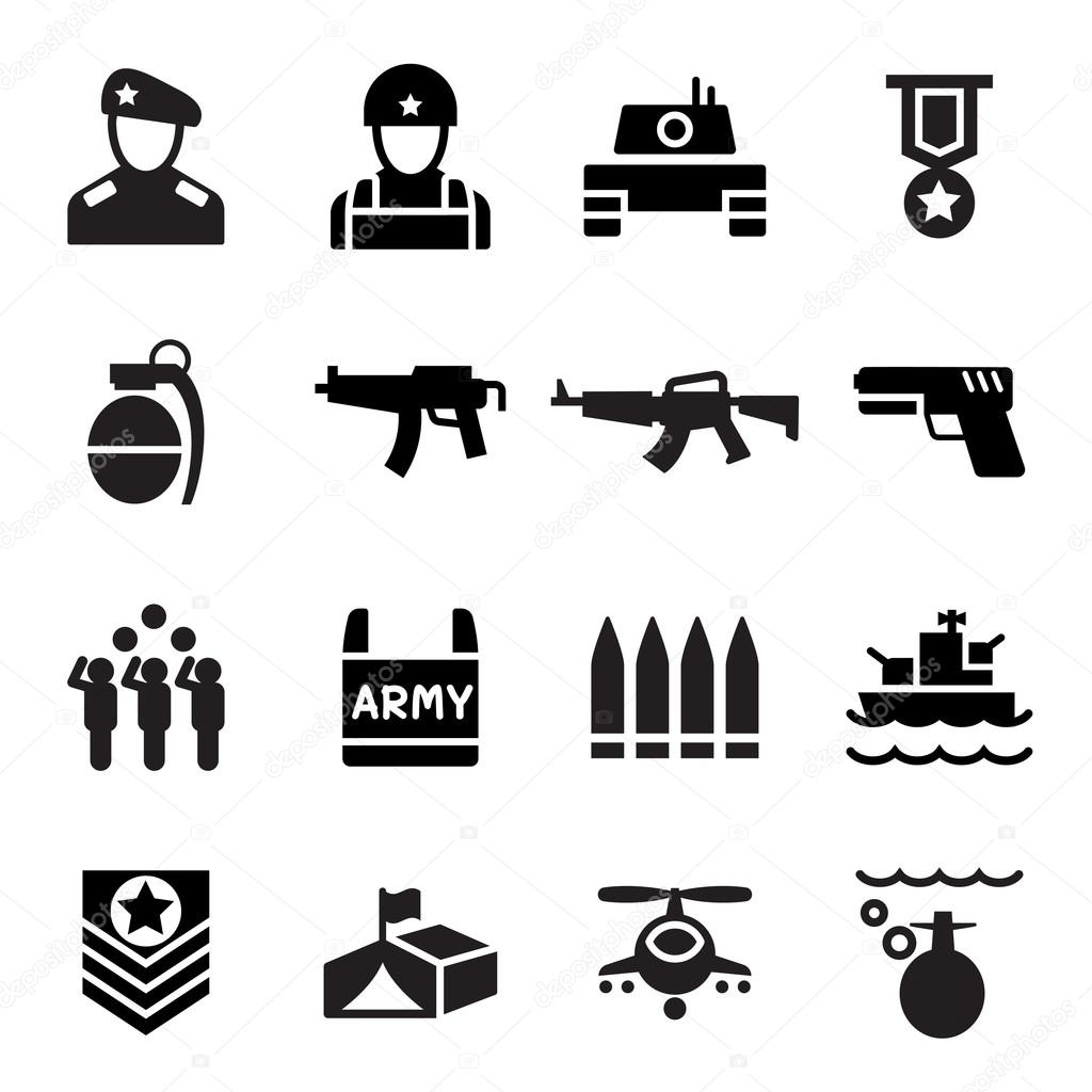 Military Icon Set Vector Illustration Symbol Stock Vector