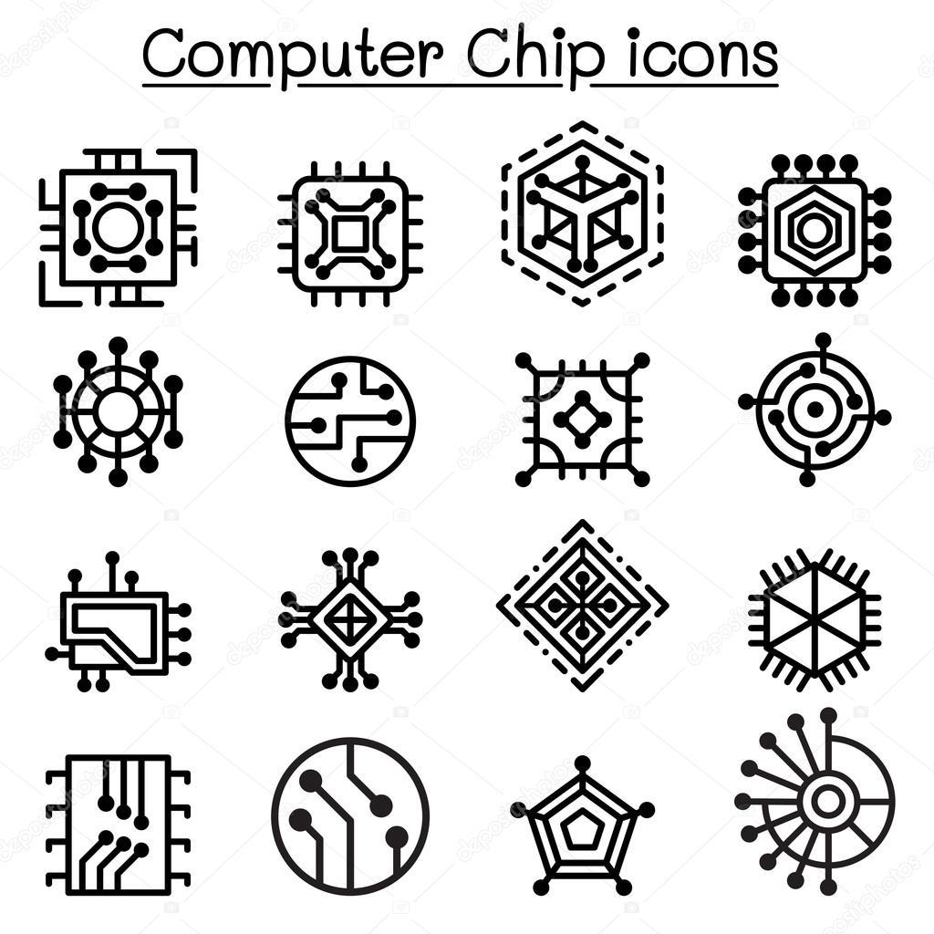 Computer-Chips und elektronischen Schaltung Symbole in dünne ...