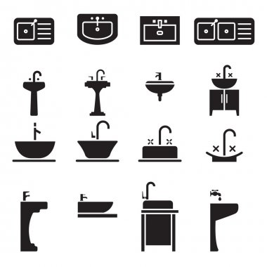 Sink icons set vector illustration