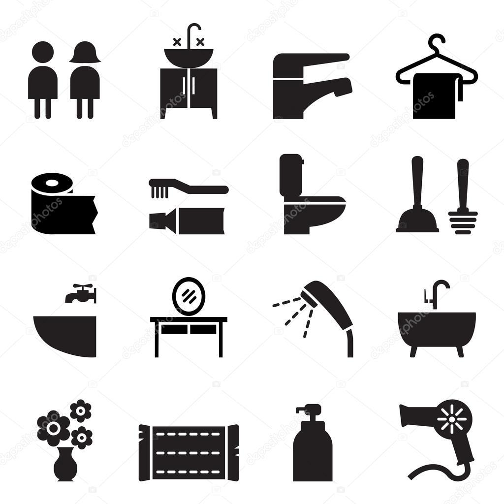 Badkamer pictogrammen instellen vectorillustratie — Stockvector ...