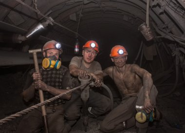Donetsk, Ukraine - March, 14, 2014: The miners working undergrou