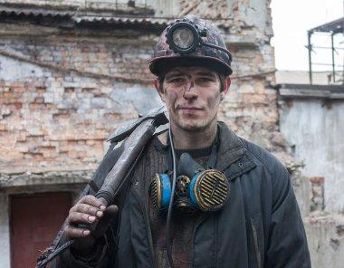 Gorlovka, Ukraine - February 26, 2014: Miner mine named Kalinin