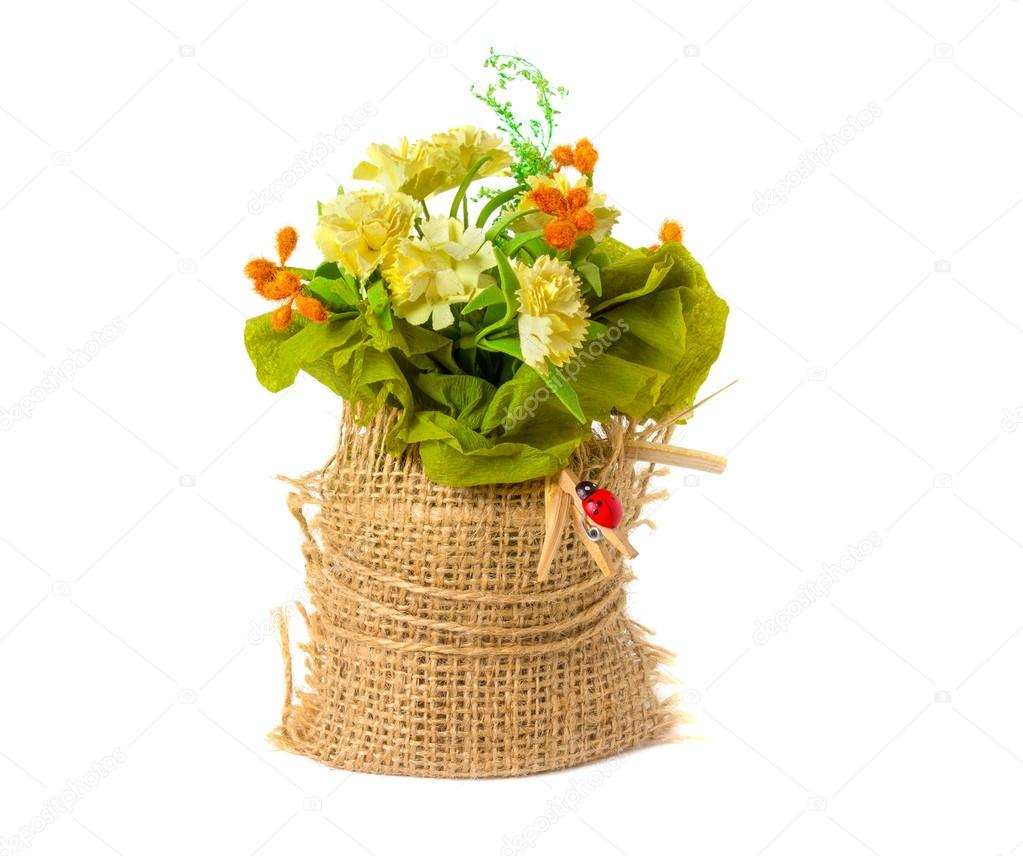 Artificial Flowers Made Of Paper In A Rustic Style Stock Photo