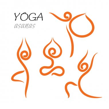 Set of icons and signs- yoga poses and asanas.
