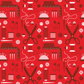 Fotografie Seamless pattern with sewing accessories.