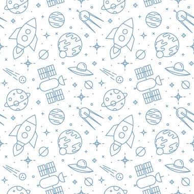 Seamless space pattern. Childish background.