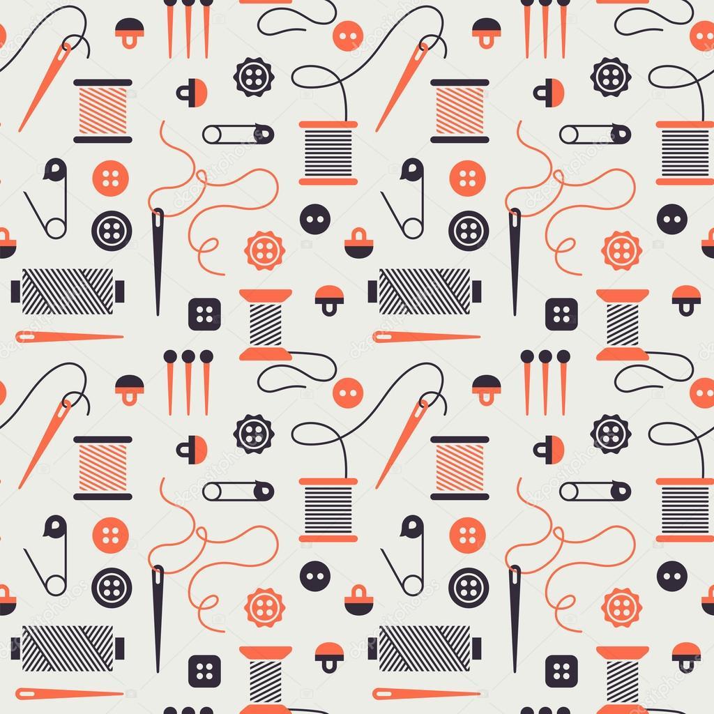 nahtlose Muster mit Nähen icons — Stockvektor © Tetiana_Svirska ...