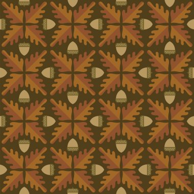 Abstract oak leaf and acorn pattern.