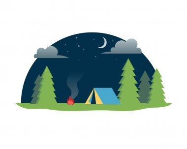 Forest camping outdoor. Vector illustration.