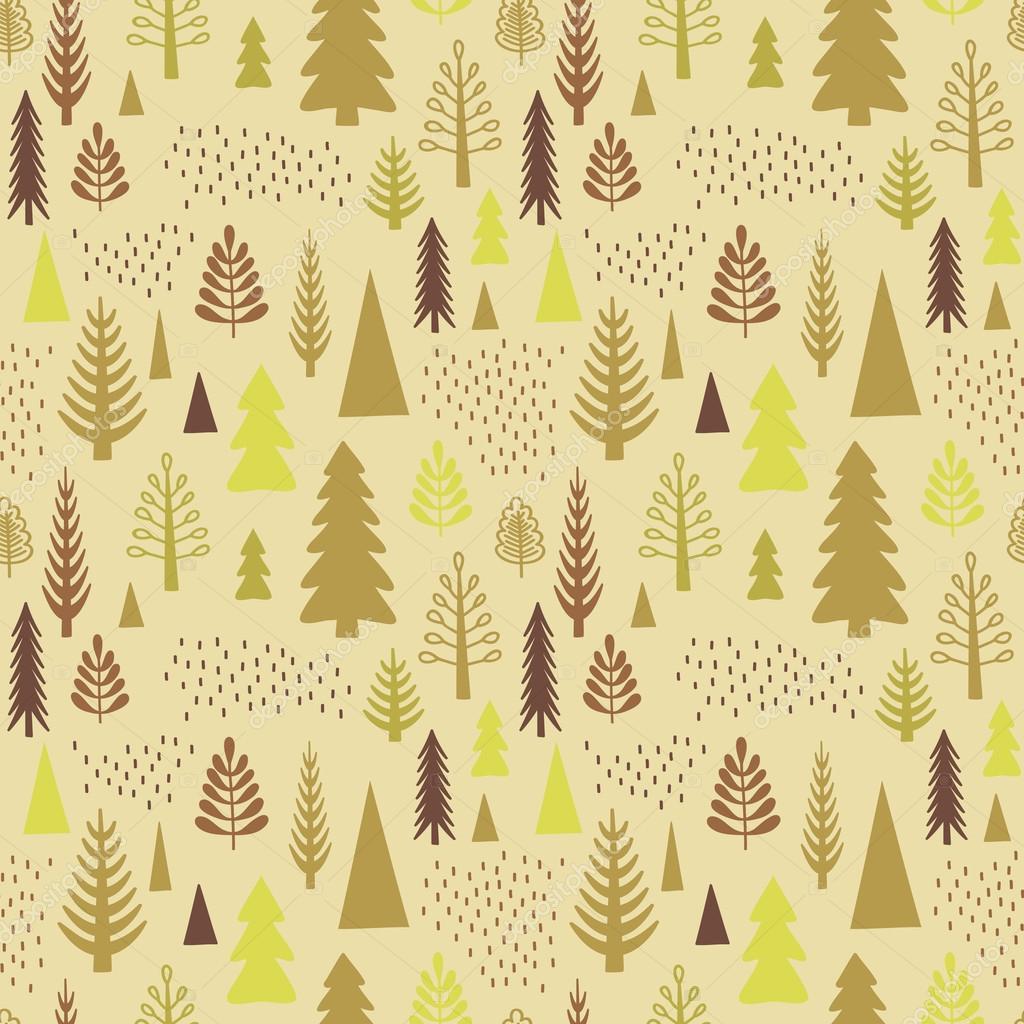 Seamless autumn forest pattern.
