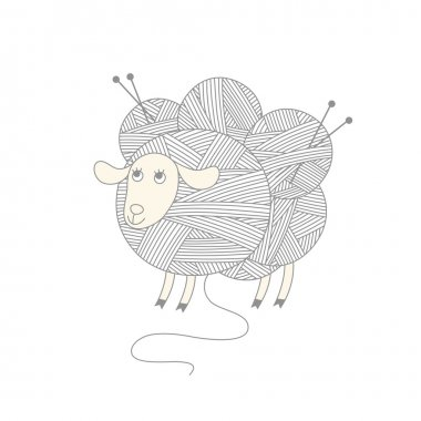 Sheep with skeins of wool yarn and knitting needles.