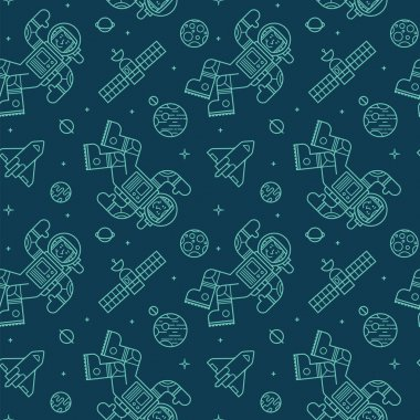 Seamless pattern with cute doodle astronauts, spaceships and planets.