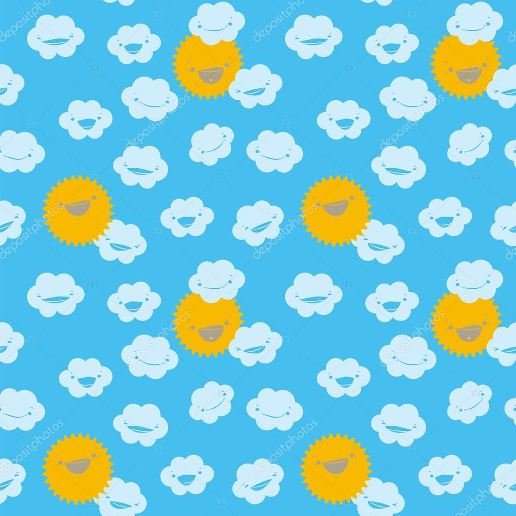 Funny seamless pattern with clouds and smiling sun.