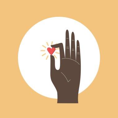 Hand giving love symbol. Vector icon.