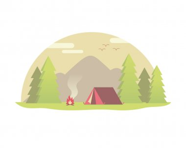 Camping in the forest with tent and bonfire.