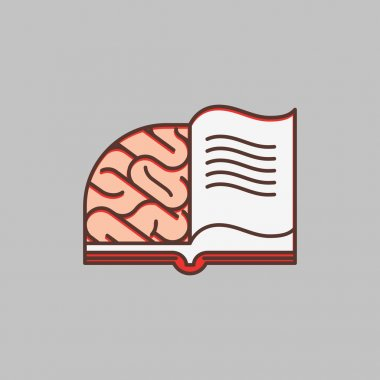 Creative brain sign and book symbol, education concept. Vector illustration.