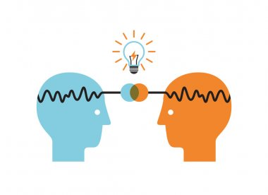 Two profile faces with light bulb. Brainstorming infographics.