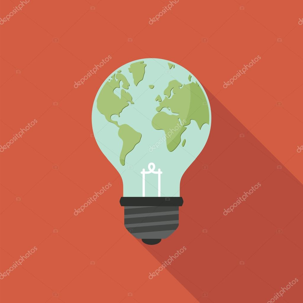 Light bulb with world map on it. Global ecology concept.