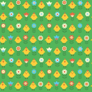Seamless pattern with chicks and flowers.