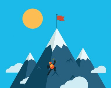 Mountaineer climb a snow mountain. Vector illustration.