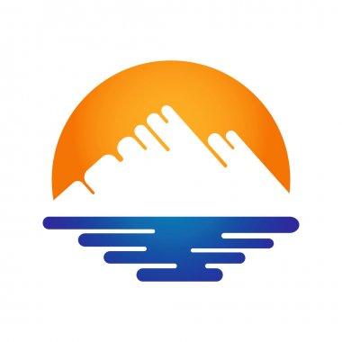 Nature landscapes icon - mountain, sea and sun.