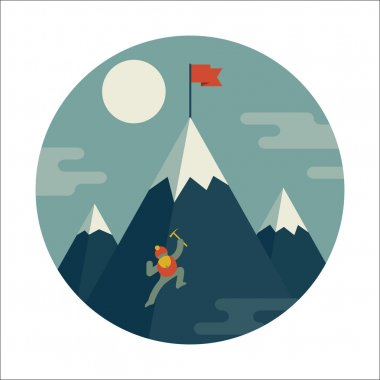 Mountaineer climb a snow mountain.
