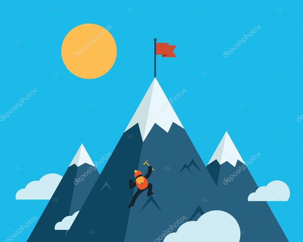 Mountaineer climb a snow mountain. Vector illustration.