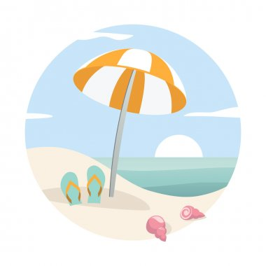 Tropical beach with parasol, flip-flops and shells.