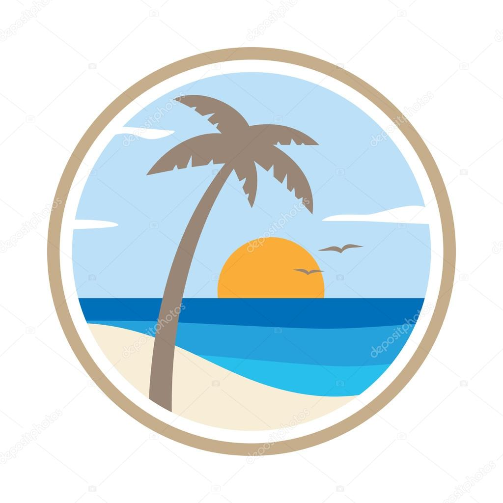 Palm tree on the tropical island. Vector icon.