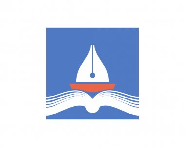 Pen as a ship sailing in the book pages. Vector icon.