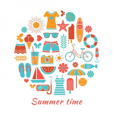 Stylized colorful background with summer icons.