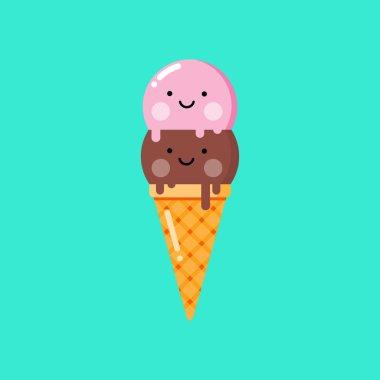 Cartoon ice cream. Vector illustration.