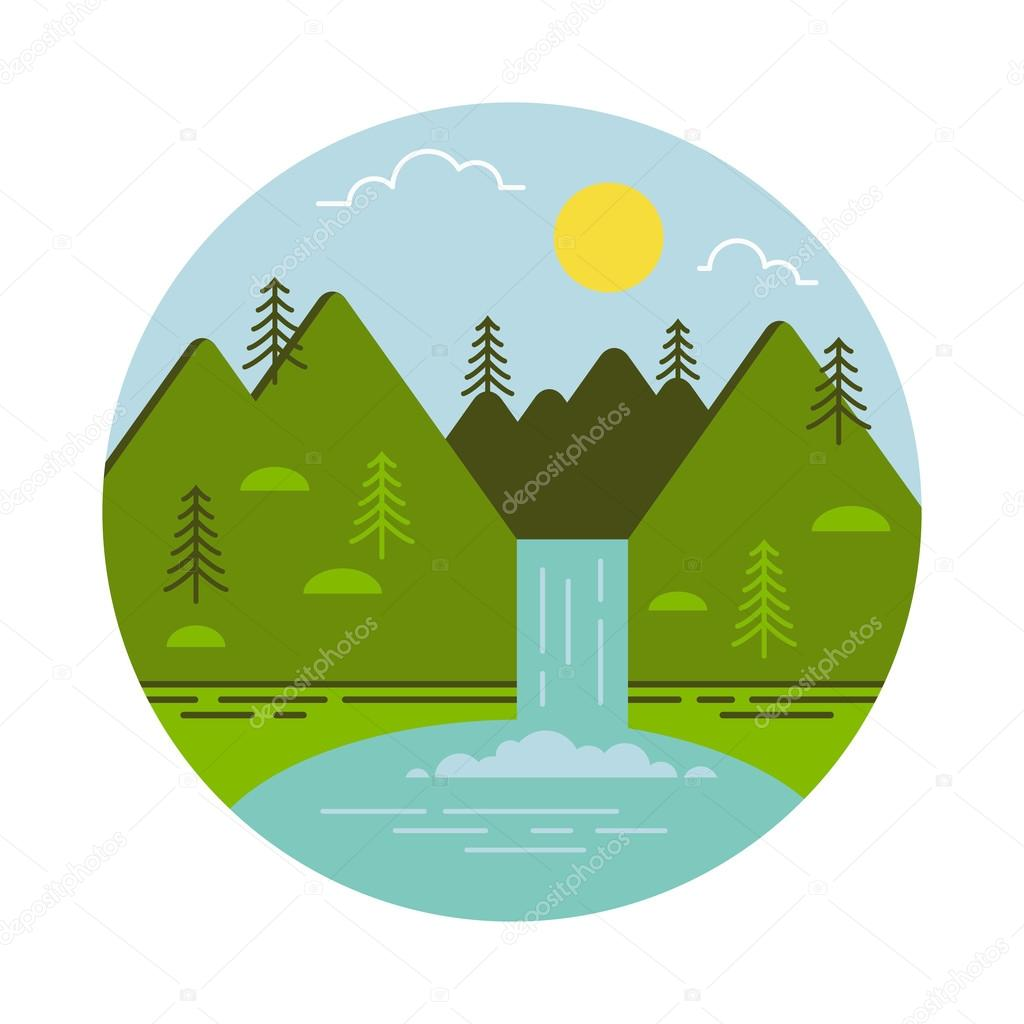 Mountain waterfall and lake. Vector illustration.